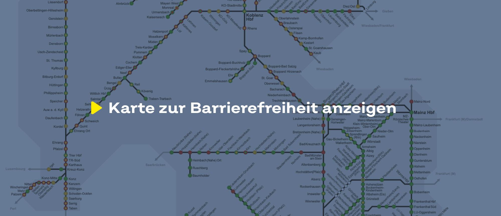 Text 'Karte zur Barrierefreiheit' auf einem bläulich eingefärbten Hintergrund, der einen Ausschnitt des Liniennetzes zeigt